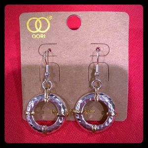 Gold & Silver Tone Hammered Circle Earrings New